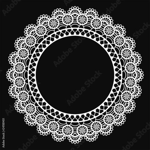 Fotografie, Obraz  White Lace Doily Frame - Beautiful vintage style white lace doily frame with cop