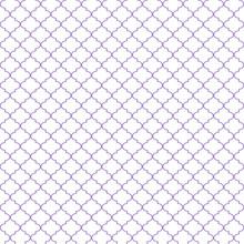 Quatrefoil Seamless Pattern - Minimalist Light Purple And White Quatrefoil Or Trellis Design