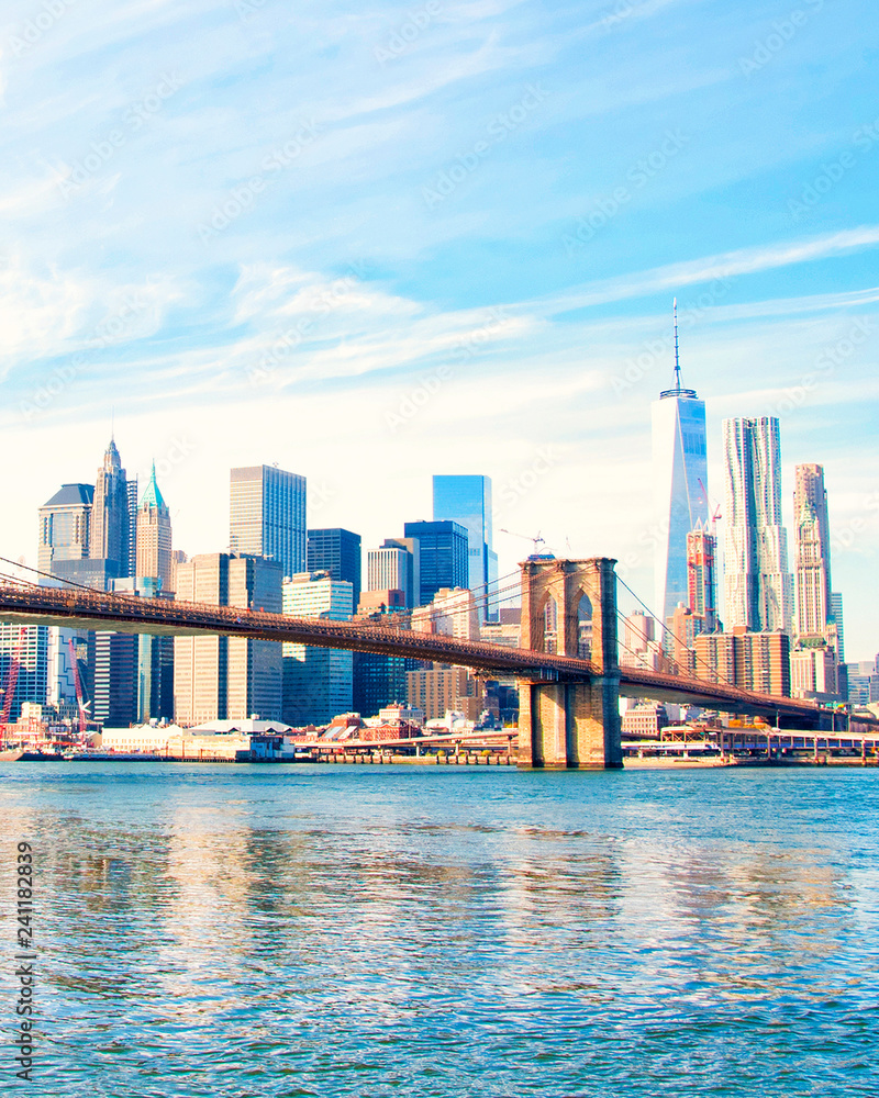 Fototapety, obrazy: New York City skyscrapers and Brooklyn Bridge, USA