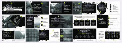 Obraz  Vector presentation templates with elements of ink blots, paint smudges. Vector infographics. Use in Presentation, flyer and leaflet, corporate report, marketing, advertising, annual report, banner. - fototapety do salonu