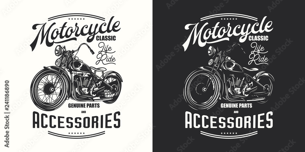 Fototapeta T-shirt or poster design with an illustration of an old motorcycle. Design with text composition on light and dark background.