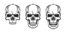 Vintage Monochrome Prints With Skulls. Isolated Vector Illustration, On White Background.