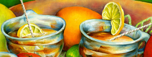 Fototapeta Do herbaciarni Two cups of tea with lemon slices.Oil painting on canvas