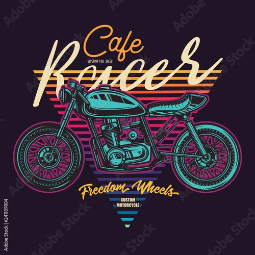 Vintage Cafe Racer Motorcycle Poster Wallpaper Mural
