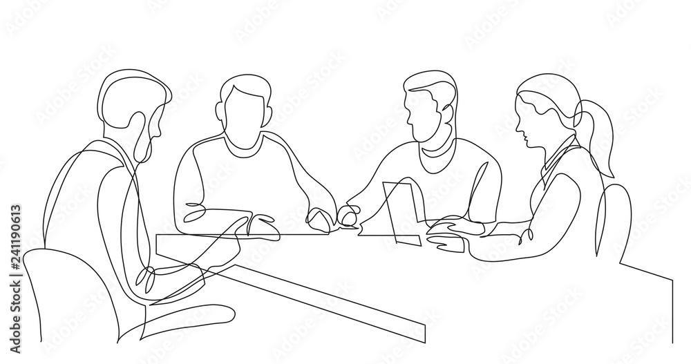 Fototapeta modern business team brainstorming during meeting - one line drawing