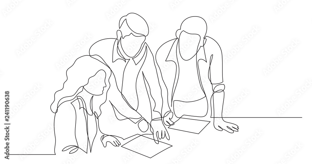 Fototapeta three coworkers discussing project on paper - one line drawing