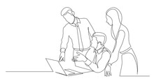 Modern Team Members Discussing Work Project On Laptop Computer - One Line Drawing