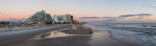 Panoramic View Of A Beautiful Sandy Beach During A Vibrant Sunrise. Taken In Daytona Beach, Florida, United States.