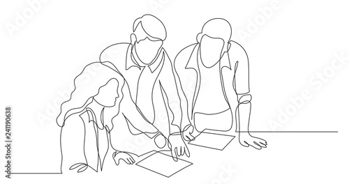 Obraz three coworkers discussing project on paper - one line drawing - fototapety do salonu
