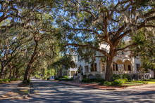 Beautiful Street View In The City During A Vibrant Sunny Day. Taken Near Forsyth Park, Savannah, Georgia, United States.
