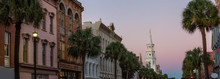 Beautiful Panoramic View On The Uban Streets In Downtown Charleston, South Carolina, United States. Taken During A Vibrant Sunrise.