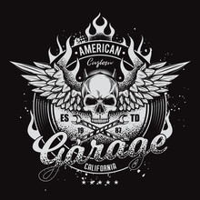 Vintage, Vector Moto Illustration. Skull With Wings On Fire. Suitable For T-shirt Design.