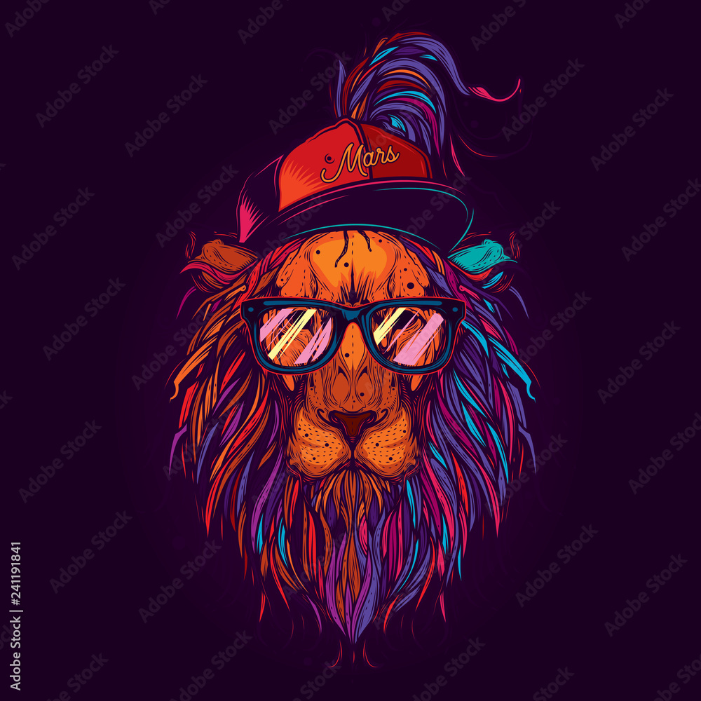 Fototapeta Original vector illustration in neon style. A lion with glasses and a cap. Design for t-shirt or sticker