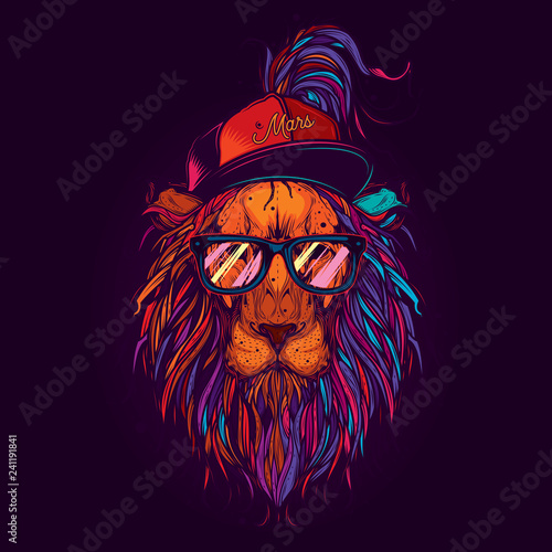 Original vector illustration in neon style. A lion with glasses and a cap. Design for t-shirt or sticker Wall mural