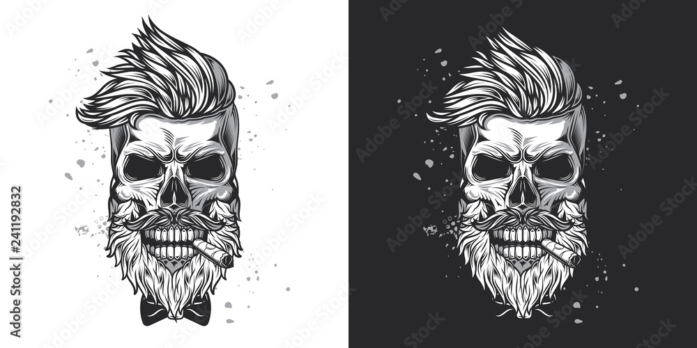 Fototapety, obrazy: Skull hipster with a beard and a mustache with a cigar in his mouth. Monochrome vector illustration on white and dark background.