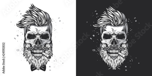 Leinwand Poster Skull hipster with a beard and a mustache with a cigar in his mouth
