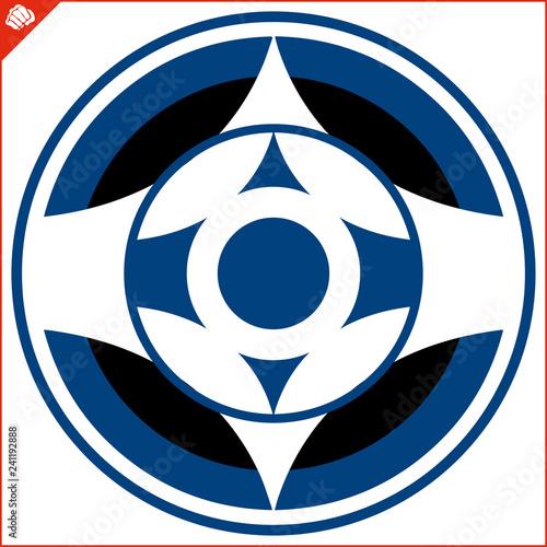 Martial art colored simbol design. Karate original emblem. Canvas Print