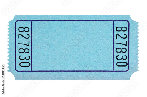 Fotomural Blank blue raffle ticket isolated on white