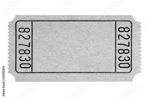 Fotomural Blank gray movie ticket isolated on white