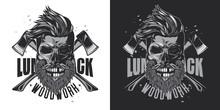 Skull Lumberjack With Beard An...