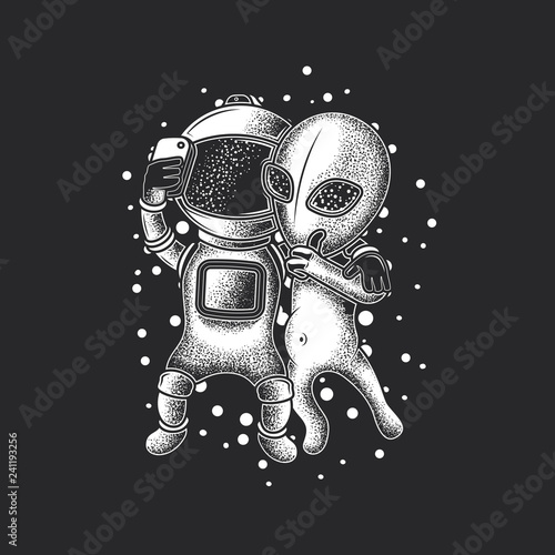 Astronaut taking a photo on the phone with an alien.  Original monochrome vector illustration. Design on t-shirt or stickers. Fototapete
