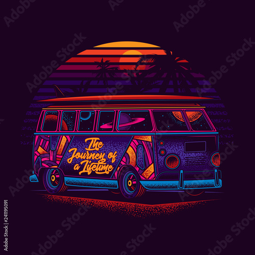 A hippie van with a surfboard on the roof, against the sea and sunset Tablou Canvas