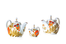 Colorful Teapots Isolated On W...