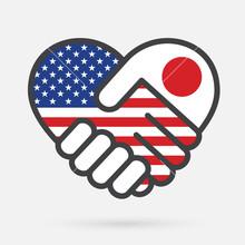 USA And Japan Heart Handshake ...