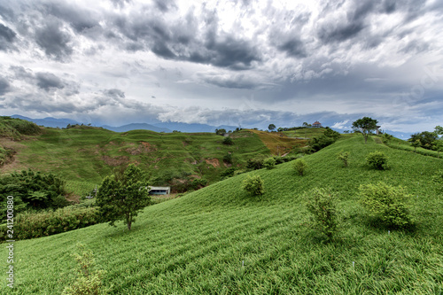 Fotografiet  A countryside landscape with rolling hills