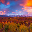 Dramatic sunrise over the Dallas Divide in Colorado's San Juan Mountains