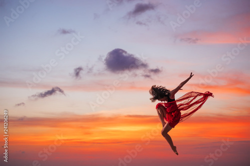 Fotografie, Tablou  Ballet dancer at sunset