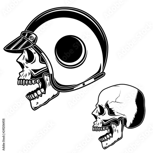 Fototapeta Biker skull in racer helmet. For logo, label, sign, poster, card.