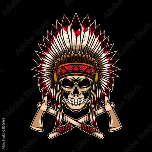 Photo Native indian chief skull with crossed tomahawks on dark background