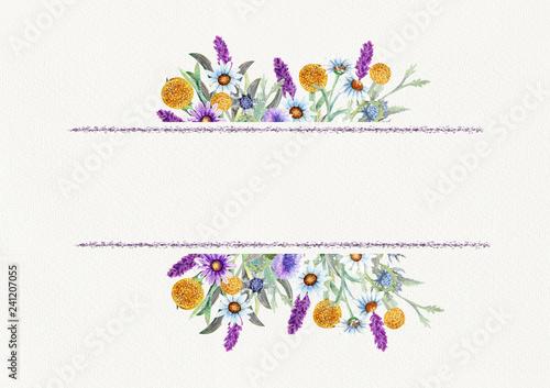 Wedding frame of wild flowers  Waterclor  Flower arrangement