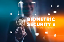 Biometric Security Concept With Fingerprint Identification Scan And Facial Recognition. Businessman Selecting Modern Interface.