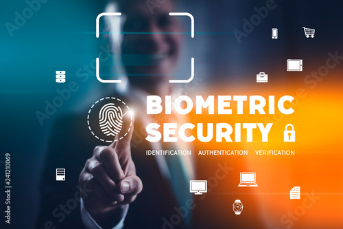 Biometric security concept with fingerprint identification scan and facial recognition Canvas Print