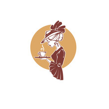 Victorian Lady Portrait, Holding With Cup Of Tea, Coffee Or Chocolate.  Logo For Restaurant, Cafe Or Tea Company