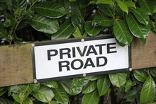 Private Road Sign On Street