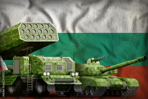 Poster Militaire Bulgaria heavy military armored vehicles concept on the national flag background. 3d Illustration