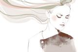 Młody piękny dziewczyna rysunku mody ilustraci portret - 241224854