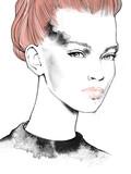 Młody piękny dziewczyna rysunku mody ilustraci portret - 241224857