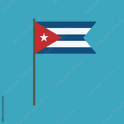 Cuba flag icon in flat design Wallpaper Mural