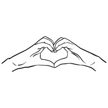 Hand-drawn Vector Comic Hands Of A Woman Shaping A Heart And Symbolizing Love. Heart, White Hands, Isolated Graphic.
