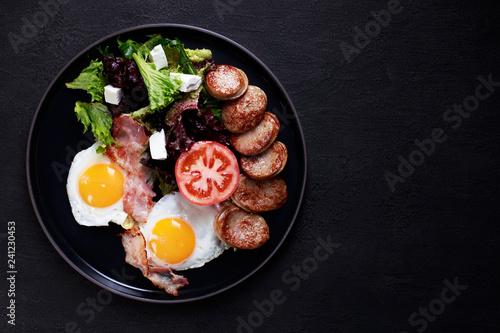 Photo continental breakfast food, business lunch, restaurant menu, delicious nourishin