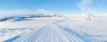 Wide Panoramic View Of Snowy L...