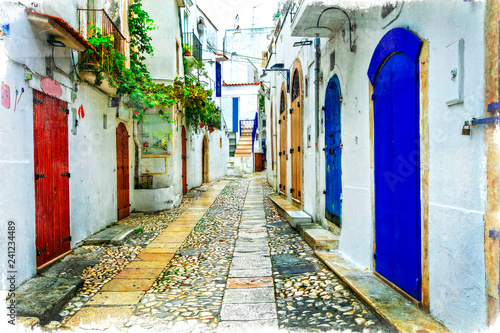 Charming picturesque old streets of Italian villages in Puglia