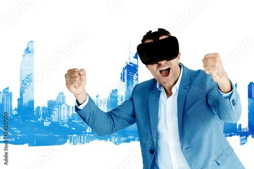 Fotografie, Obraz  Digital businessman put on a virtual reality glasses to simulate the work that i