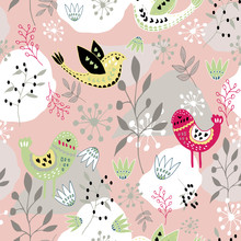Scandinavian Folk Art Bird Pattern Design. Perfect For Fabric, Wallpaper, Stationery And Scrapbooking Projects And Other Crafts And Digital Work.