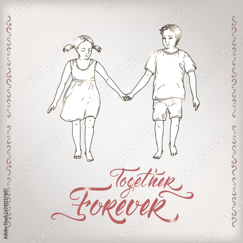 Fotografie, Obraz  Valentine romantic card with boy and girl holding hands and brush lettering saing Together Forever