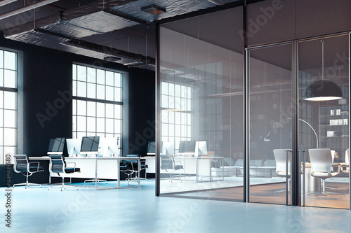 Fotografie, Obraz  Bright modern office interior with open workspace. 3d rendering.